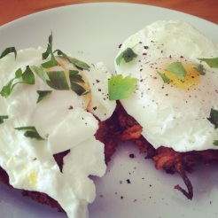 Poached Eggs with Yam Latkes
