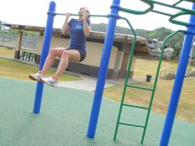 Playing on the playground in Oahu. Near my lowest weight, 150 lbs.