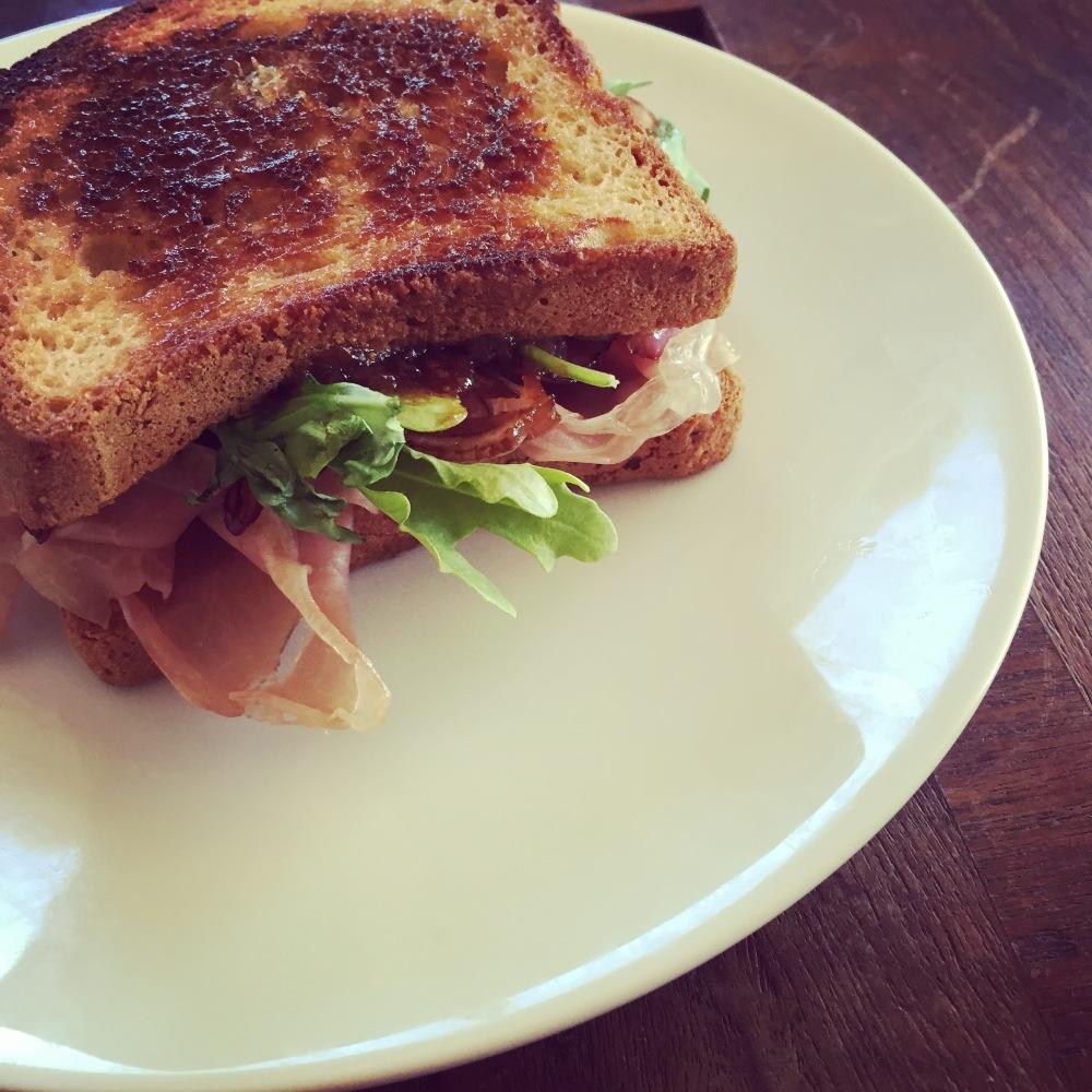 Prosciutto, fig, goat cheese sandwich